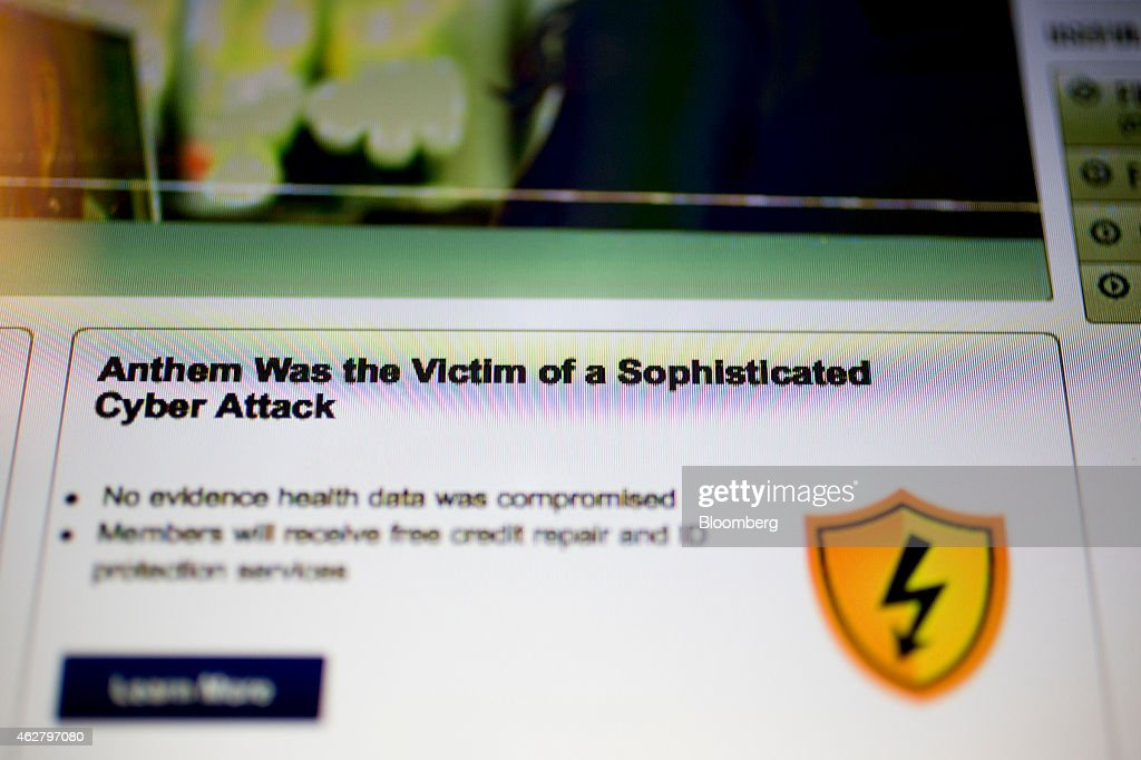 The Anthem Inc  website displays a notification of a cyber
