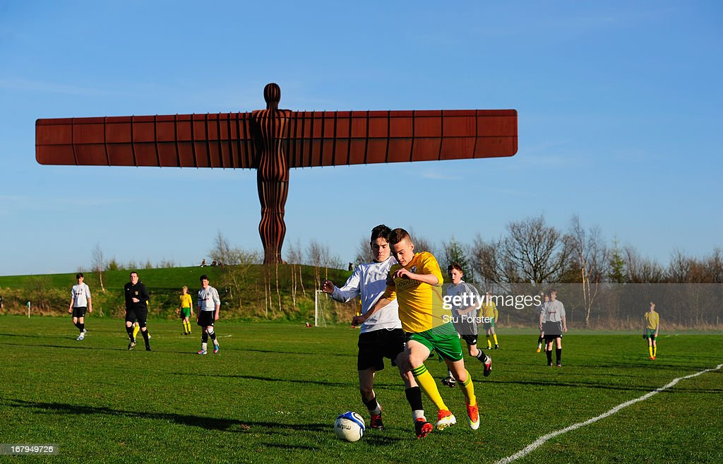 The Anthony Gormley 'Angel of the North' sculpture overlooks the match between Gateshead and Esh Winning on May 2, 2013 in Gateshead, England.