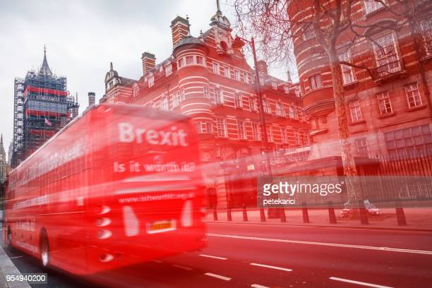the anti brexit bus - brexit stock pictures, royalty-free photos & images