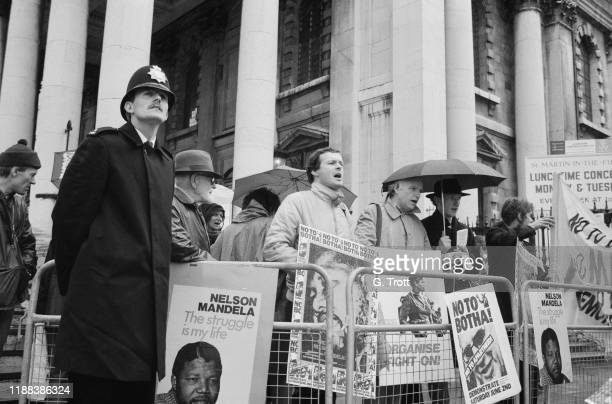 The Anti-Apartheid Movement's 'No to Botha' demonstration while British Prime Minister Margaret Thatcher was meeting South African State President P...
