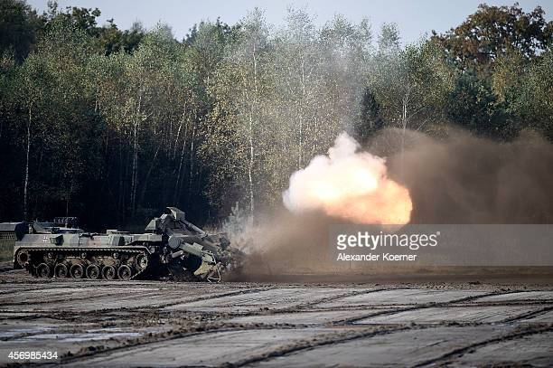 The antimine Tank «Keiler« of the German Armed Forces is pictured while clearing a filed of mines during an exercise in Munster prior the arrival of...