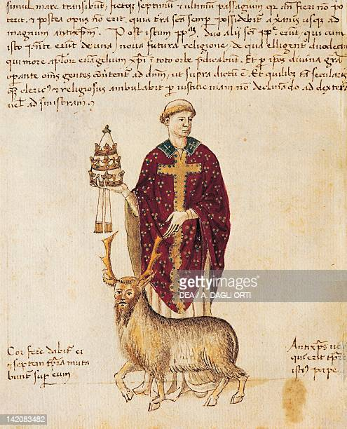 The antipope Innocent III , miniature from a Latin manuscript, 12th Century.