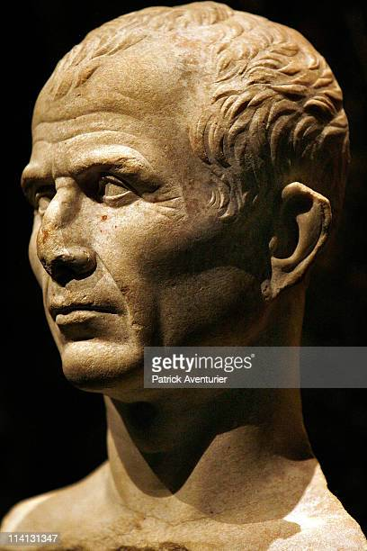 The antique head of Roman Emperor Ceasar at the Arles Antique museum on May 12 2011 in Arles France