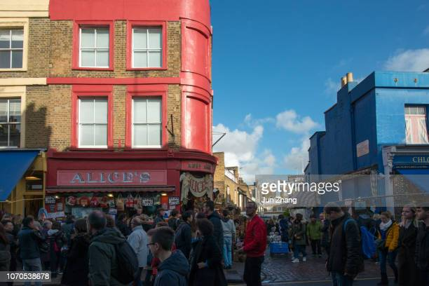 the antique stores and markt in notting hill, london - english blue film photos stock photos and pictures