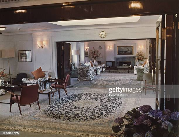 The AntiRoom in the foreground and the Drawing Room in the background on board the Royal Yacht Britannia 1981