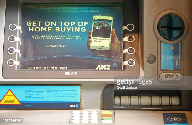 The ANZ logo is seen on an ATM machine on October 31 2018 in Melbourne Australia ANZ has announced 2018 full year profits of $64 billion