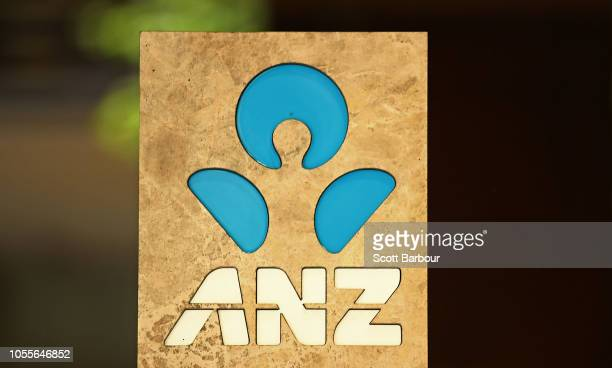 The ANZ logo is seen on the exterior of a building on October 31 2018 in Melbourne Australia ANZ has announced 2018 full year profits of $64 billion