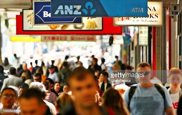 The ANZ logo is seen outside of a branch on October 31 2018 in Melbourne Australia ANZ has announced 2018 full year profits of $64 billion