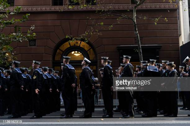 The ANZAC Day March by Martin Place on April 25 2019 in Sydney Australia Australians commemorating 104 years since the Australian and New Zealand...
