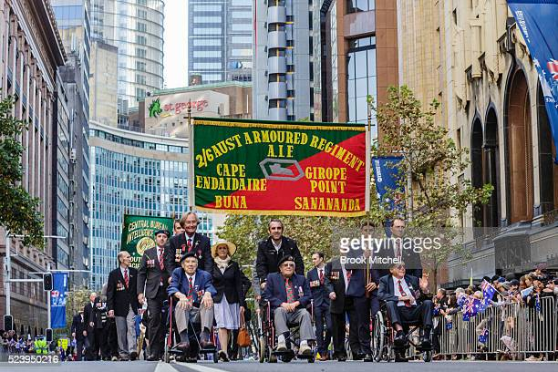 The ANZAC day parade on April 25 2016 in Sydney Australia Australians commemorating 101 years since the Australian and New Zealand Army Corp landed...