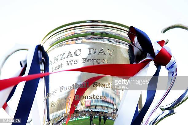 The Anzac Day Trophy is seen before the round eight NRL match between the St George Illawarra Dragons and the Sydney Roosters at Allianz Stadium on...