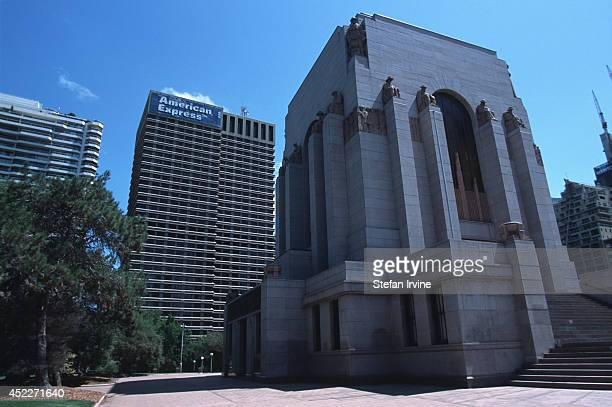 The Anzac Memorial in Sydney's Hyde Park commemorates Australia's war dead Behind it is a sign for American Express