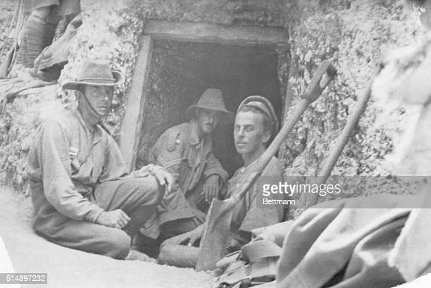 The Anzacs at rest time Interesting incidents in and around the Australian camp and position on the Gallipoli Peninsula Three men rest at the...