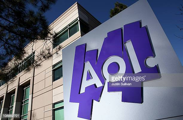 The AOL logo is posted on a sign in front of the AOL Inc offices on February 7 2011 in Palo Alto California Online company AOL Inc announced today...