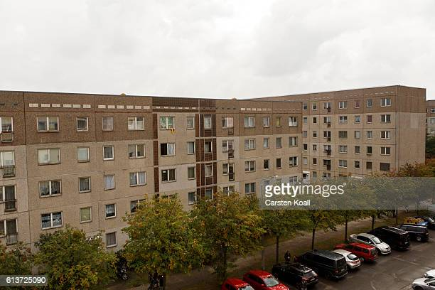 The apartment building where hours earlier police arrested Syrian terror suspect Jaber AlBakr on October 10 2016 in Leipzig Germany AlBakr is accused...