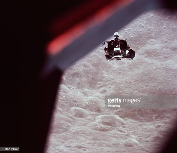 The Apollo 10 lunar module Snoopy flying above the Moon's surface taken from the main Apollo 10 Command Service Module Charlie Brown Apollo 10 was...