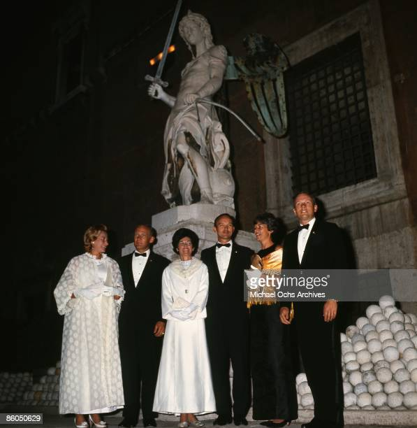 The Apollo 11 astronauts and their wives pose for a portrait at a reception at the Castel Sant'Angelo on October 16 1969 in Rome Italy