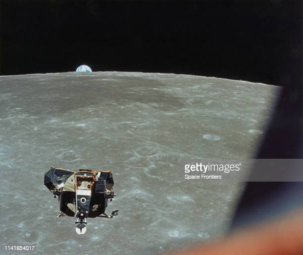 The Apollo 11 Lunar Module ascends from the surface of the Moon, with astronauts Neil Armstrong and Edwin 'Buzz' Aldrin Jr on board, as photographed...
