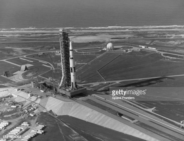 The Apollo 11 spacecraft 107 Lunar Module 5 and Saturn V AS506 rocket arrive at Pad A Launch Complex 39 at the Kennedy Space Center in Florida prior...