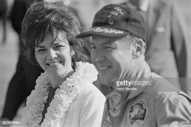 The Apollo 13 astronauts are reunited with their wives in Honolulu Hawaii after their safe return to Earth 23rd April 1970 Pictured here are mission...