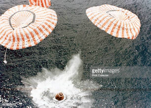 The Apollo 15 capsule lands safely despite a parachute failure MidPacific Ocean 7th August 1971