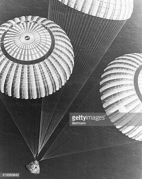 The Apollo 17 spacecraft containing astronauts Eugene A. Cernan, Ronald E. Evans, and Harrison H. Schmitt glided to a safe splashdown at 2:25 p.m....