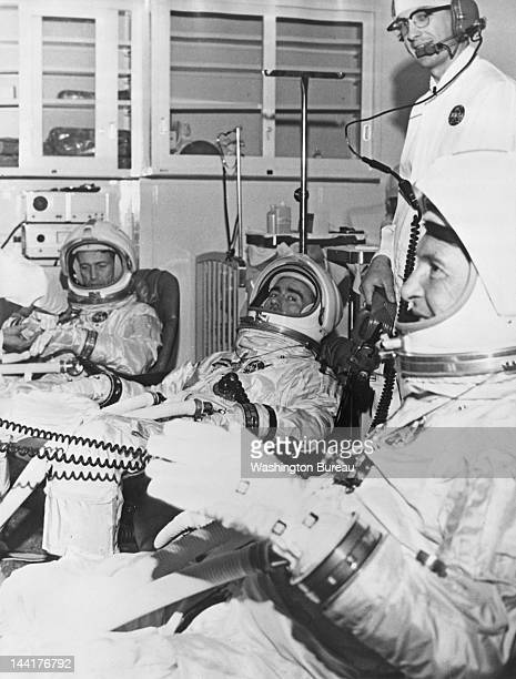 The Apollo 7 prime crew members during a training session 17th May 1967 From left to right they are Command Module Pilot Donn F Eisele Lunar Module...