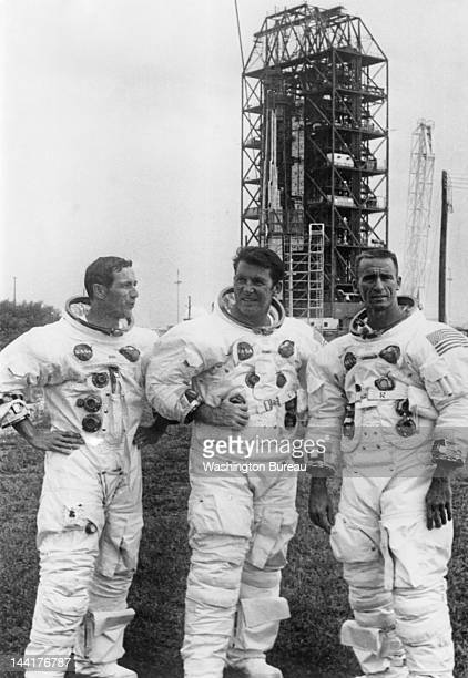 The Apollo 7 prime crew members relax after a successful Space Vehicle Emergency Egress test at Cape Kennedy's Launch Complex 34 18th September 1968...