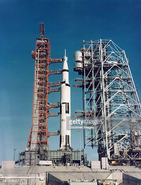 The Apollo 8 space vehicle on the launch pad at Kennedy Space Center.