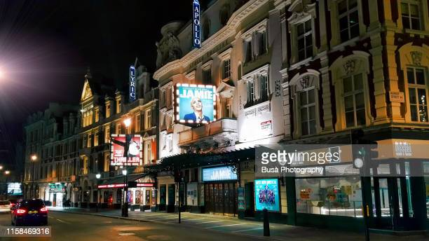 the apollo theatre and the lyric theater in the west end on shaftesbury avenue in the city of westminster, in central london, england - west end london stock pictures, royalty-free photos & images