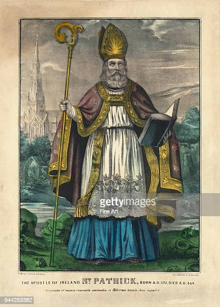 The Apostle of Ireland St Patrick born AD 372 died AD 464 handcolored lithograph by Currier Ives New York 185772 381 x 28 cm