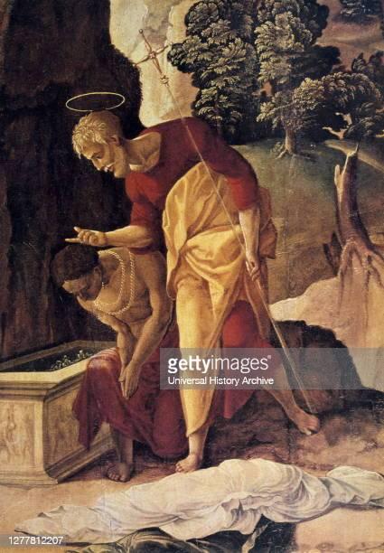 The Apostle Philip Baptizing the Eunuch' by Jan van Scorel, detail, 16th century..