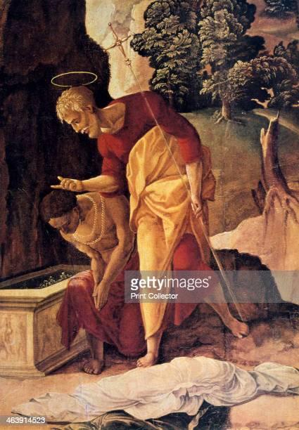 'The Apostle Philip Baptizing the Eunuch' detail 16th century
