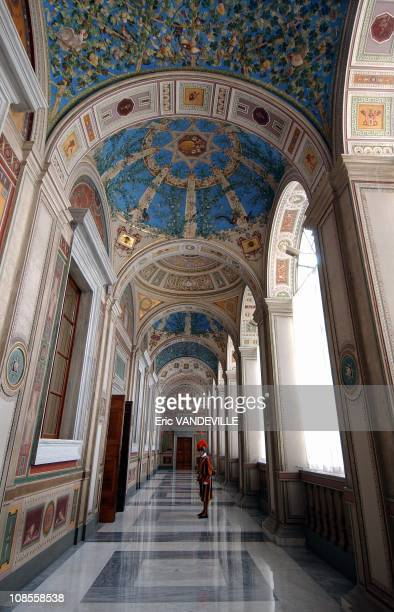 The Apostolic Palace's corridors leading to the Pope's apartments are guarded by the Swiss Guards