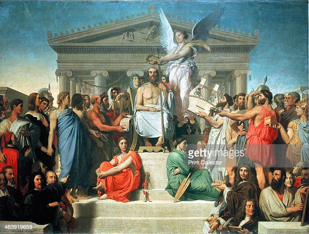 'The Apotheosis of Homer' 1827 Homer the Greek epic poet who lived during the 8th century BC is being crowned as an immortal At his feet are figures...