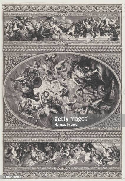 The apotheosis of James I in an oval at center, friezes with putti and garlands on either side, 1720. Artist Simon Gribelin.