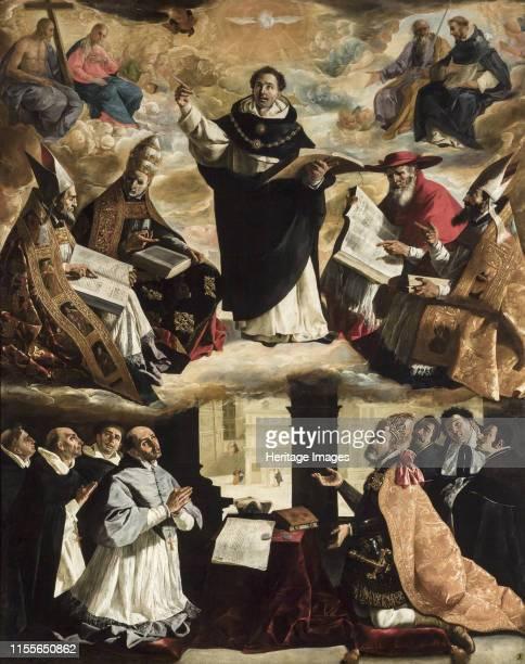 The Apotheosis of Saint Thomas Aquinas circa 1631 Found in the Collection of Museo de Bellas Artes Sevilla Artist Zurbarán Francisco de