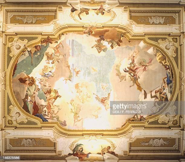 The Apotheosis of the Pisani family by Giambattista Tiepolo fresco Ceiling of the central hall Villa Pisani Stra Venice