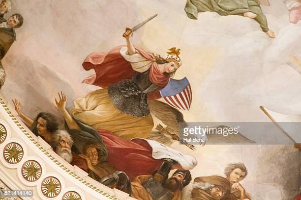the apotheosis of washington decorates the rotunda of the united states capitol - united states capitol rotunda stock pictures, royalty-free photos & images