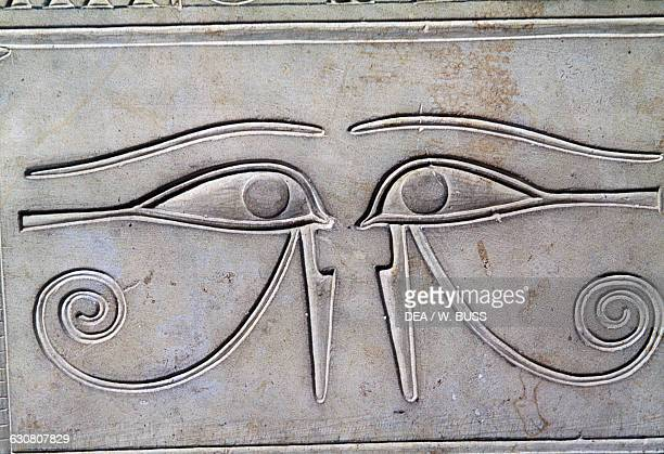 The apotropaic eye of Horus basrelief on the sarcophagus of Princess Kawit 2050 BC from the Temple of Mentuhotep II Deir elBahri Egypt Egyptian...