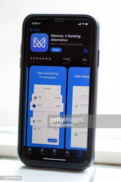 The app of mobile phone appbased 'neobank' Monese is pictured on a mobile phone in London on February 7 2020 Among Britain's digital appbased...