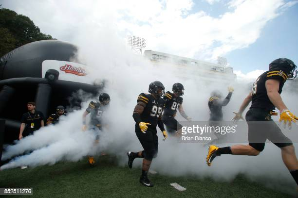 The Appalachian State Mountaineers take to the field at the start of an NCAA football game against the Wake Forest Demon Deacons on September 23 2017...