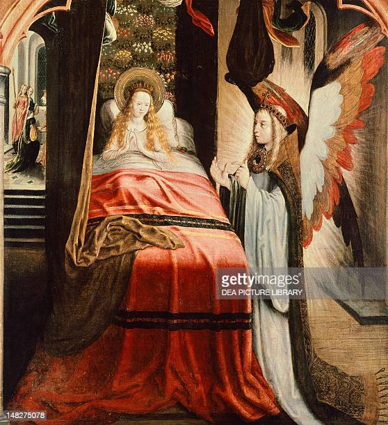 The apparition of the angel scene from the St Ursula Cycle by the Master of the Legend of St Ursula canvas 123x114 cm Cologne WallrafRichartzMuseum