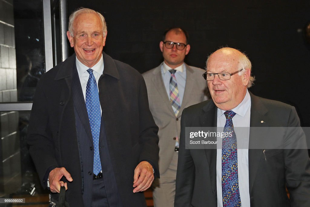 The Appeal Board members Michael Green, Stephen Jurica and Murray Kellam Qc arrive ahead of the AFL Tribunal Appeal Hearing into intentional contact with an umpire by Charlie Curnow and his brother Ed Curnow of the Carlton Blues at AFL House on May 17, 2018 in Melbourne, Australia.