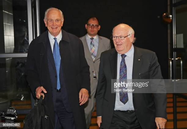 The Appeal Board members Michael Green Stephen Jurica and Murray Kellam Qc arrive ahead of the AFL Tribunal Appeal Hearing into intentional contact...
