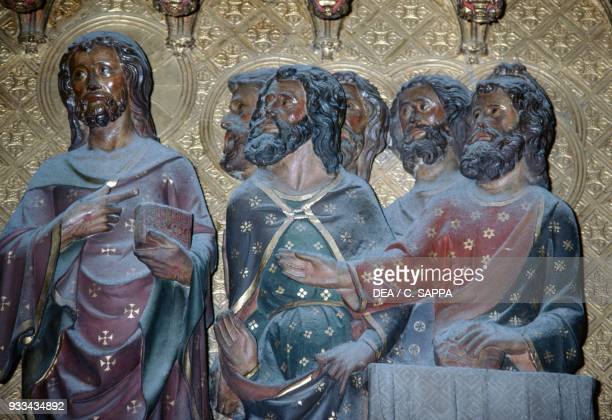 The appearance to the apostles basrelief in the choir with stories from the life of Christ by Jean Ravy NotreDame cathedral Paris France