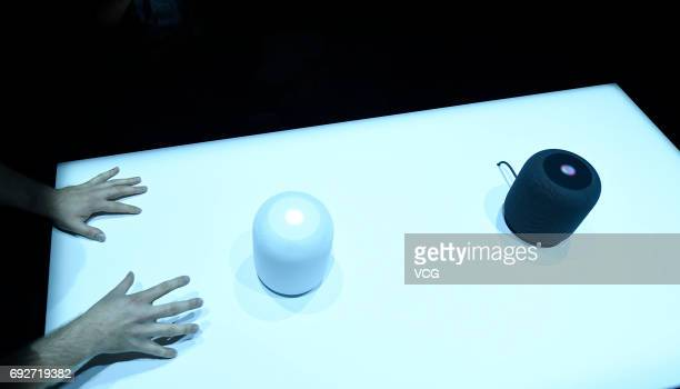 The Apple HomePods are seen during the 2017 Apple Worldwide Developer Conference at San Jose Convention Center on June 5 2017 in San Jose California...