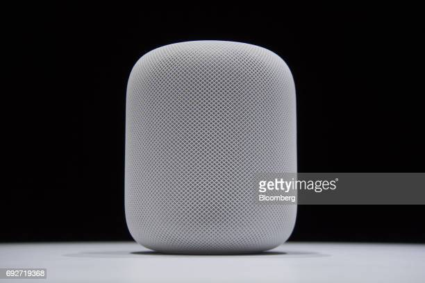 The Apple Inc HomePod speaker is displayed during the Apple Worldwide Developers Conference in San Jose California US on Monday June 5 2017 The...