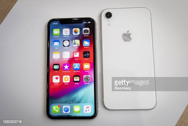 The Apple Inc iPhone XR smartphone is displayed during an event at the Steve Jobs Theater in Cupertino California US on Wednesday Sept 12 2018 Apple...