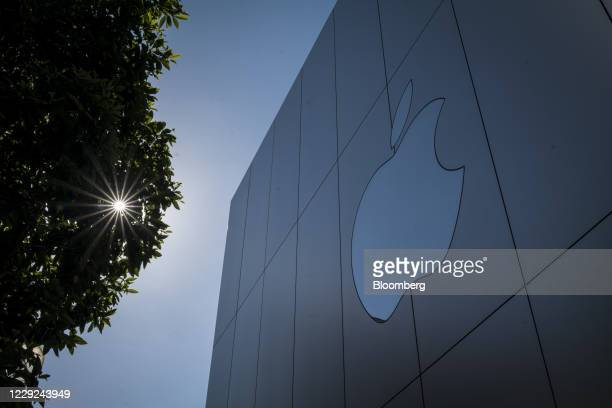 The Apple Inc logo at a store in San Francisco, California, U.S., on Friday, Oct. 23, 2020. The iPhone 12 and iPhone 12 Pro went on sale in stores,...
